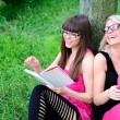 Girls reading the book — Foto Stock