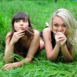 Foto Stock: Two beautiful young women friends.