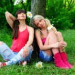 Stockfoto: Two beautiful young women friends.