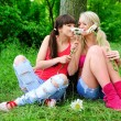 Stock Photo: Two beautiful young women friends.