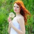 Female with dandelion — Stock Photo
