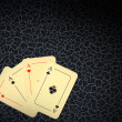 Four aces on background in cracks — Stock Photo