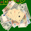 Aces on a heap of money — Stockfoto
