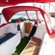 Lounge cockpit inside a boat. - Stock Photo
