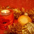 Christmas composition with a candle - Foto Stock