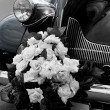 The black wedding automobile - Stock Photo