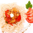 Spaghetti with mushrooms and tomatoes — Stock Photo