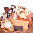 Stock Photo: Handbag with cosmetics and toy a bear