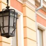 Lantern hanging on the house — Stock Photo