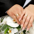 Just married couple hands — Stock Photo