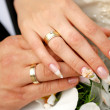Stock Photo: Just married couple hands