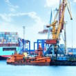 Stock Photo: Port with cranes, containers and cargo