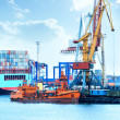 Port with cranes, containers and cargo — Foto de Stock