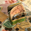 Background with old currency - Stock Photo