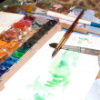 Water colour brushes and paints — Stock Photo
