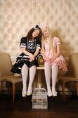 Girls dressed as dolls. — Stock Photo