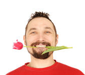 Men with the pink tulip — Stock Photo