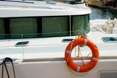 Lifebuoy ring onboard a yacht — Stock Photo