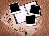 Open notebook with polaroid — Stock Photo