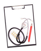 Medical clipboard and stethoscope — Stock Photo