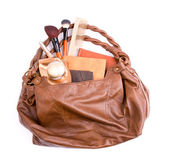 Stylish ladies' handbag with cosmetics — Stok fotoğraf