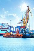 Přístav s jeřáby, kontejnery a nákladu — Stock fotografie