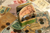 Background with old currency — Stock Photo