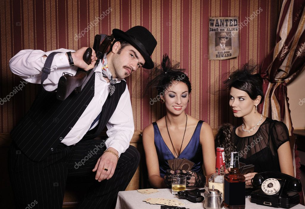 Gangsters playing cards, picture in retro style. Focus on  man.  Stock Photo #14204483