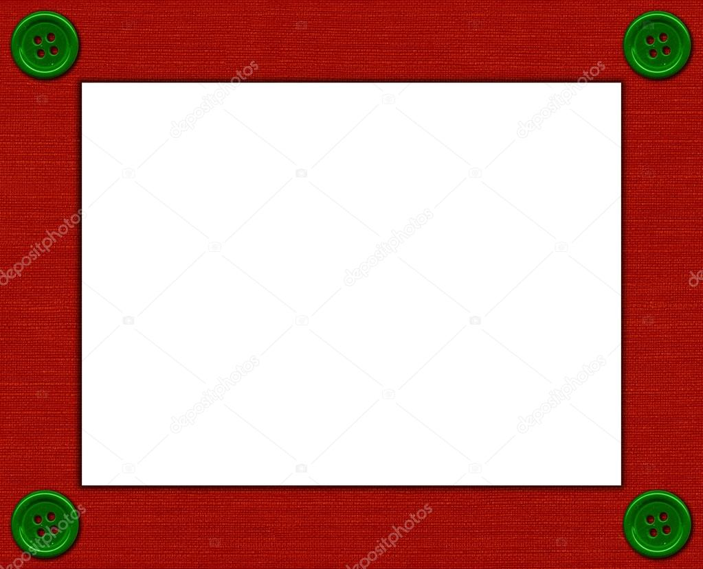 Textile frame with buttons for photo or text.  Stock Photo #14204935