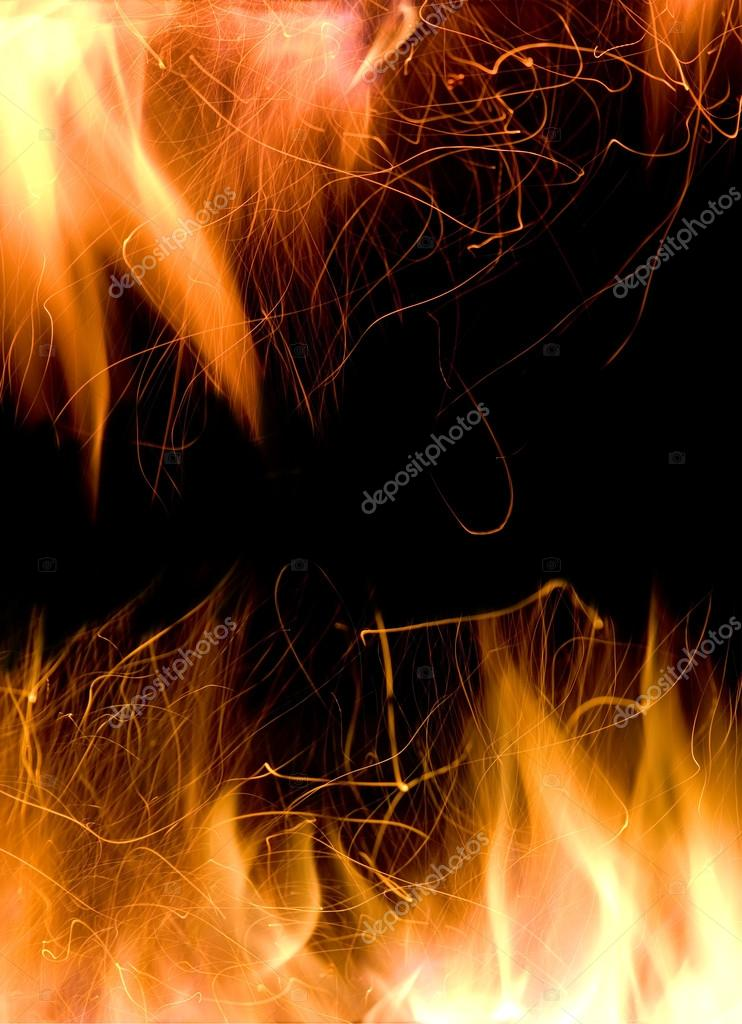 Close-up of fire and flames on a black background — Stock Photo #14207147
