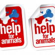 Royalty-Free Stock Vector Image: Help for animals stickers.