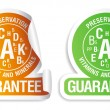 Preservation vitamins and minerals guarantee icons set. - Stock Vector