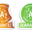 Royalty-Free Stock Vector Image: Preservation vitamins and minerals guarantee icons set.