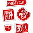 Price cut sale stickers. — Vector de stock #14203734