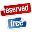 Reserved and free stickers. — Stock Vector