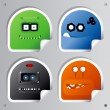 Stock Vector: Funny Robots stickers.