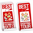Best shopping tour stickers. - Imagen vectorial