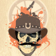 Wektor stockowy : West design with cowboy skull.