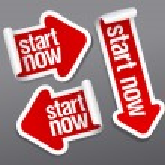 Start now stickers. — Stock Vector