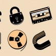 Royalty-Free Stock Vector Image: Cartoon steampunk icons.