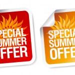 sommar erbjudande klistermärken — Stockvektor