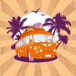 Royalty-Free Stock Vector Image: Fashion design template with retro bus.
