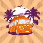 Fashion design template with retro bus. — Stock Vector