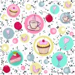 Seamless pattern with sweets and coffee. — Vector de stock