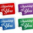 Stock Vector: Thinking of you stikers.