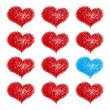 Background with red hearts — Stock Vector