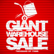 Giant warehouse sale design template. — Stock Vector