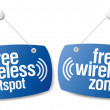 Free wireless zone signs. — Stock Vector