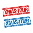 Stock Vector: Christmas tour stamps