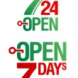 7 Days Open - Stock Vector